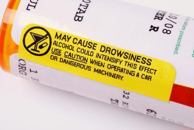 warning label on medication advising against drinking alcohol