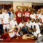 Students and Washington Redskins players