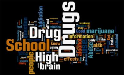 A word cloud made up of words from the 2008 NIDA Chat Day transcript