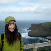 Sharlett in front of ocean