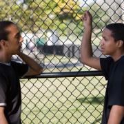 Teen boys talking