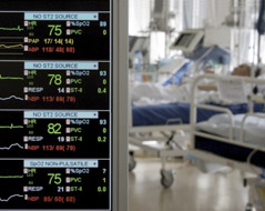 Patients being monitored in the intensive care unit.
