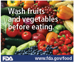 Wash Fruits and Vegetables Before Eating