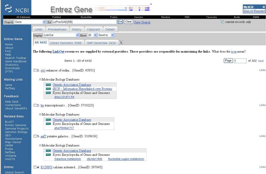 GAD links were provided by Entrez