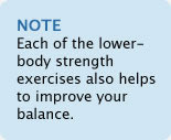 Note: Each of the lower-body strength exercises also help to improve your balance
