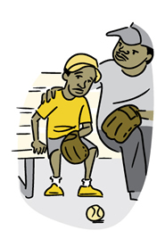 Cartoon of dad comforting his tired looking son on a break from playing baseball.
