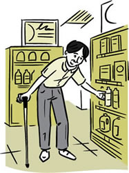 Illustration of a man steadying himself with a cane while reaching for a bottle on a grocery store shelf.