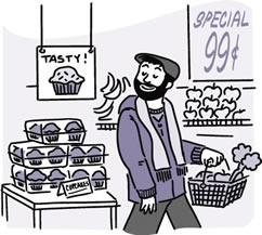 Cartoon of a man bypassing cupcakes and carrying a shopping basket filled with produce.