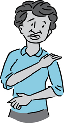 Cartoon of a woman rubbing her own shoulder.