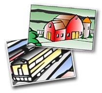 Tox Town Collage of train and barn - 209X191 pixels - 10.7 KB