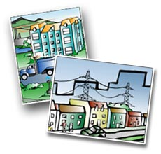 Tox Town Collage of office building and power lines - 230X200 pixels - 13 KB