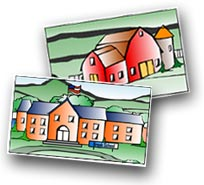 Tox Town Collage of school and barn - 230X200 pixels - 11.3 KB