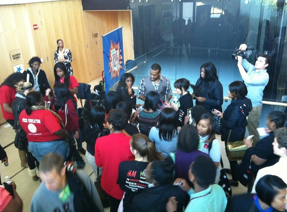 Teens participating in a National Drug Facts Week event