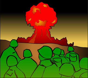 Illustration of soldiers observing an atomic bomb test - a mushroom cloud rises against a dark sky