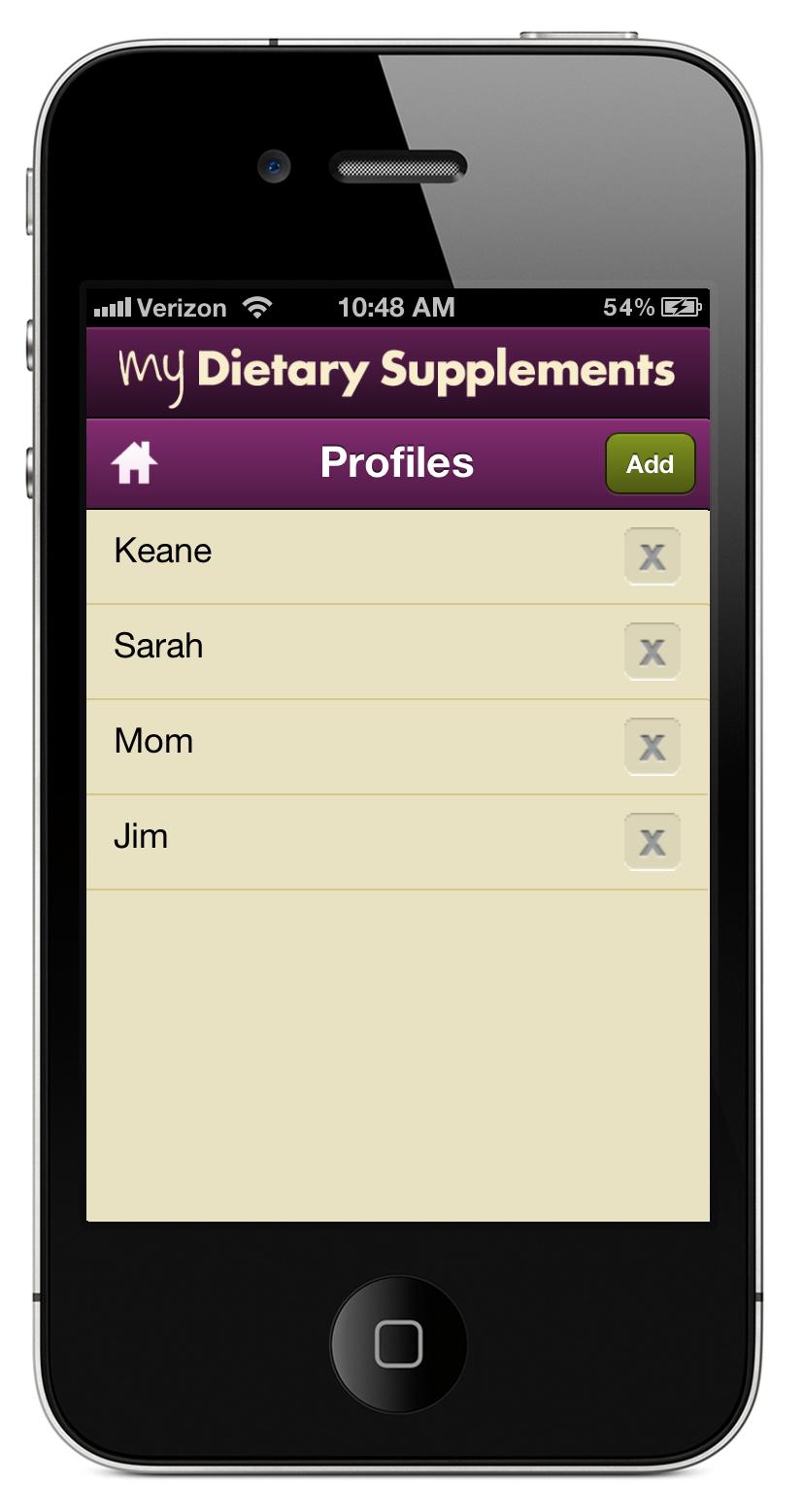 MyDS Profiles list screen