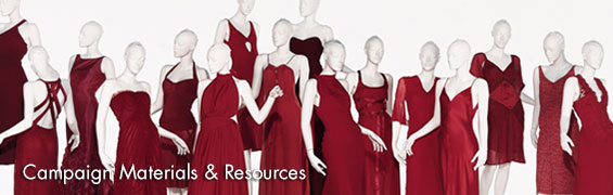 The Female mannequins in red dresses