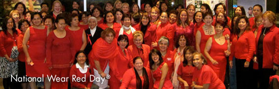 Women wearing red for National Wear Red Day