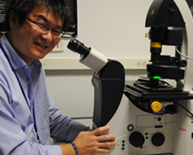 Image of Dr. Mukoyama with the microscope.