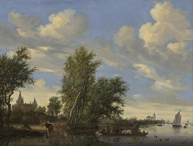 image: Salomon van Ruysdael, River Landscape with Ferry, 1649