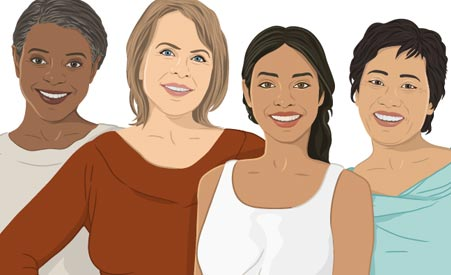 Color Drawing of Four Women of Different Ethnicities