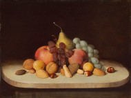 Image: image of Still Life with Fruit and Nuts  Robert Seldon Duncanson (artist) American, 1821-1872 Still Life with Fruit and Nuts, 1848 oil on board overall: 30.48 x 40.64 cm (12 x 16 in.) Gift of Ann and Mark Kington/The Kington Foundation and the Avalon Fund 2011.98.1