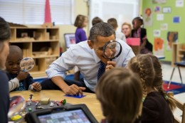President Obama visits an early education classroom in Georgia.