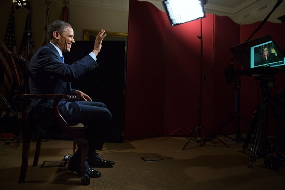 President Obama participates in a Fireside Hangout on Google+