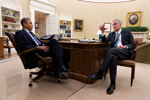 President Barack Obama meets with Chief of Staff Denis McDonough