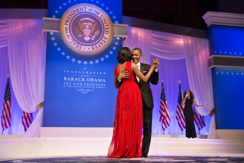 President Barack Obama and First Lady Michelle Obama dance at the Commander in Chief Ball