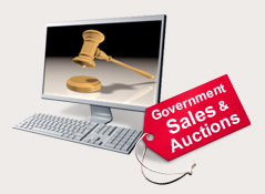 Find land, houses, cars, and other property for sale or auction by the government.