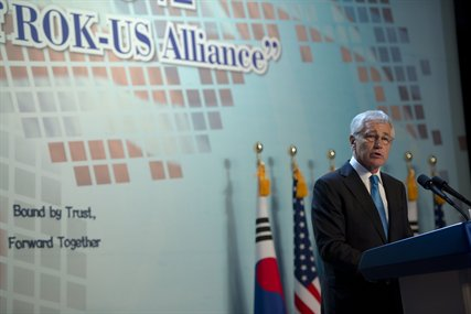 U.S. Defense Secretary Chuck Hagel speaks during a banquet celebrating the 60th anniversary of the U.S.-South Korean alliance in Seoul, South Korea, Sept. 30, 2013. Earlier in the day, Hagel met with South Korean President Park Geun-hye and visited troops in the demilitarized zone separating North and South Korea.