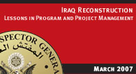 Iraq Reconstruction: Lessons in Program and Project Management