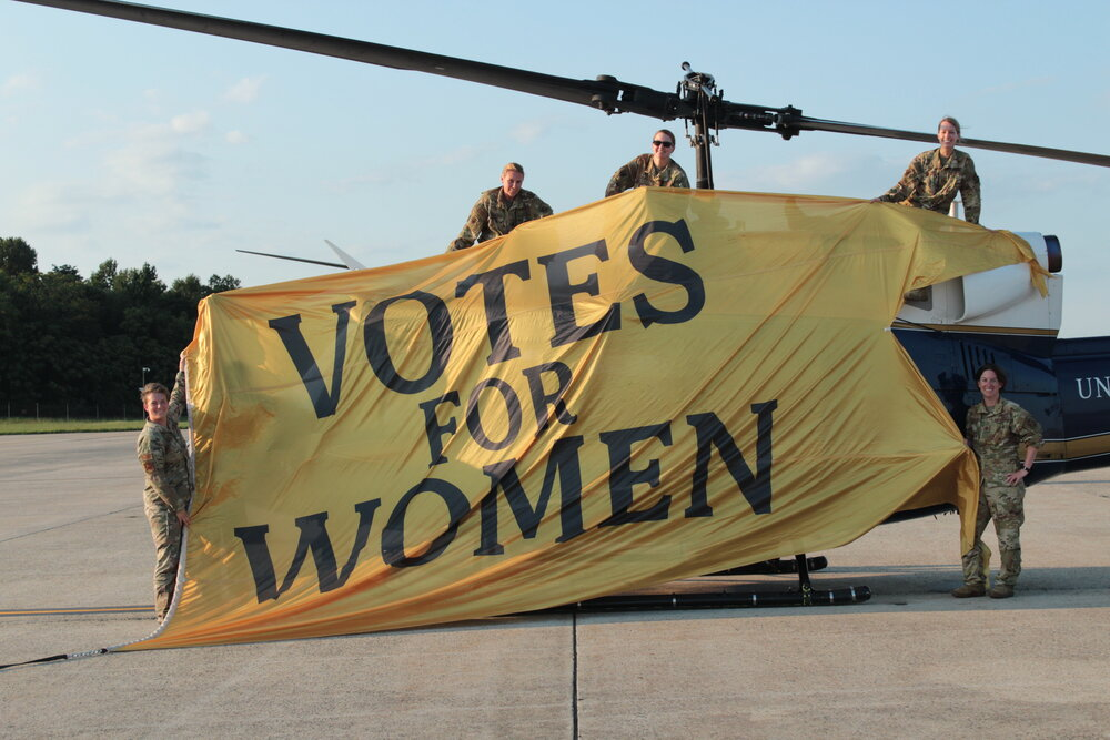 Pilots from Women-Led Centennial Flyover with Votes for Women Banner_Credit_ Stephanie Marsellos_Women's Suffrage Centennial Commission.JPG